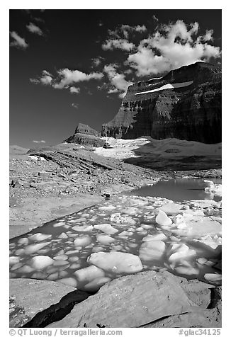Icebergs in Upper Grinnel Lake, with glacier and Mt Gould in background. Glacier National Park (black and white)