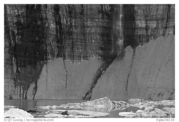 Salamander Falls and icebergs. Glacier National Park (black and white)