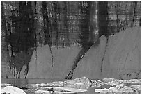 Salamander Falls and icebergs. Glacier National Park ( black and white)