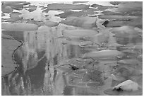 Blue icebergs floating on reflections of rock wall, Upper Grinnel Lake, late afternoon. Glacier National Park ( black and white)