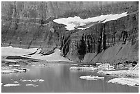 Salamander Glacier, Salamander Falls , and Upper Grinnell Lake. Glacier National Park, Montana, USA. (black and white)
