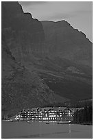 Many Glacier lodge and Swiftcurrent Lake at dusk. Glacier National Park ( black and white)