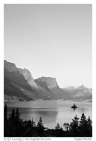 St Mary Lake and Wild Goose Island at sunrise. Glacier National Park (black and white)