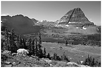 Hidden Lake, Bearhat Mountain, and mountain goat. Glacier National Park, Montana, USA. (black and white)