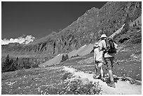 Hikers on trail amongst wildflowers near Hidden Lake. Glacier National Park ( black and white)