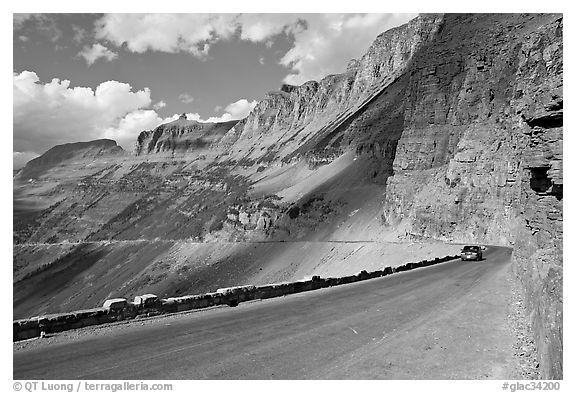 Going to the Sun road below the Garden Wall, afternoon. Glacier National Park (black and white)