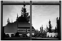 Firs and peak, Logan Pass visitor center window reflexion. Glacier National Park ( black and white)