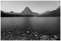 Two Medicine Lake at dawn. Glacier National Park ( black and white)
