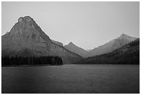 Sinopah Mountain above Two Medicine Lake at dawn. Glacier National Park ( black and white)