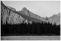 Lone Walker Mountain and treeline above Two Medicine Lake. Glacier National Park ( black and white)