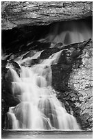 Lower Running Eagle Falls in autumn. Glacier National Park ( black and white)