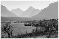 Saint Mary Lake and Continental Divide in autumn. Glacier National Park ( black and white)