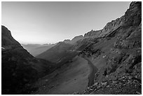 Going-to-the-Sun road at sunset. Glacier National Park ( black and white)