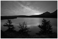 Colorful sunrise over Saint Mary Lake. Glacier National Park ( black and white)