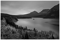 Saint Mary Lake and Wild Goose Island, autumn sunrise. Glacier National Park ( black and white)