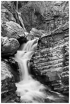 Cascade below Apikuni Falls. Glacier National Park ( black and white)