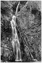 Close view of Apikuni Falls. Glacier National Park ( black and white)