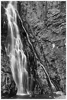 Lower tier of Apikuni Falls. Glacier National Park ( black and white)