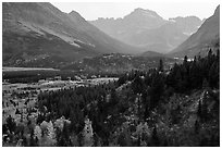 Many Glacier Valley in autumn. Glacier National Park ( black and white)