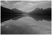 Reflections and pebbles at dawn, Bowman Lake. Glacier National Park ( black and white)