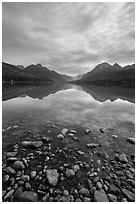 Rocks and mountains, Bowman Lake. Glacier National Park ( black and white)