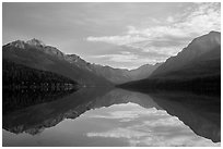 Mountains and clouds with reflections, Bowman Lake. Glacier National Park ( black and white)