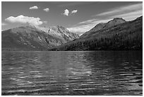 Kintla Lake with ripples. Glacier National Park ( black and white)