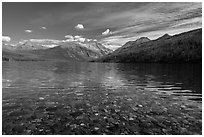 Kintla Lake with underwater colorful cobblestones. Glacier National Park ( black and white)