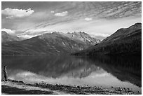 Visitor looking, Kintla Lake. Glacier National Park ( black and white)