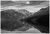 Mountains reflected in Kintla Lake. Glacier National Park ( black and white)