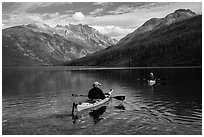 Two kayakers on Kintla Lake. Glacier National Park ( black and white)