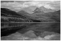 Clouds and reflections, Kintla Lake. Glacier National Park ( black and white)