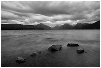 Rain clouds, turbulent waters, and rocks, Lake McDonald. Glacier National Park ( black and white)