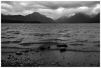 Waves and clouds, Lake McDonald. Glacier National Park ( black and white)