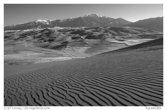 Dune field and Sangre de Christo mountains in winter. Great Sand Dunes National Park (black and white)