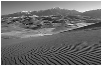 Dune field and Sangre de Christo mountains in winter. Great Sand Dunes National Park, Colorado, USA. (black and white)