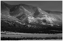 Sunset over mountains. Great Sand Dunes National Park and Preserve ( black and white)