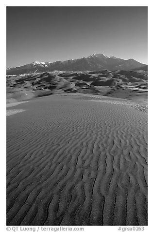 Sand ripples and Sangre de Christo mountains in winter. Great Sand Dunes National Park and Preserve (black and white)