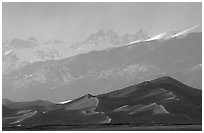 Distant view of the dune field and Sangre de Christo mountains at sunset. Great Sand Dunes National Park, Colorado, USA. (black and white)
