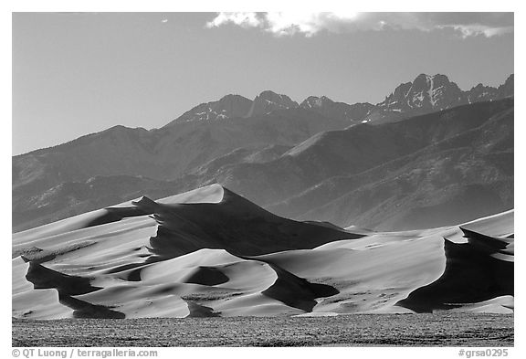 Distant view of Dunes and Crestone Peaks in late afternoon. Great Sand Dunes National Park and Preserve (black and white)