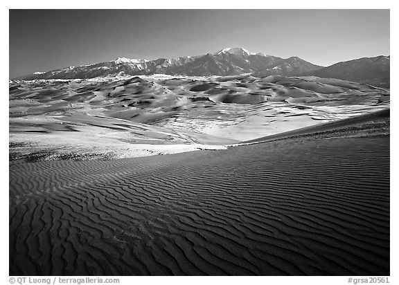 Rippled dunes and Sangre de Christo mountains in winter. Great Sand Dunes National Park and Preserve (black and white)