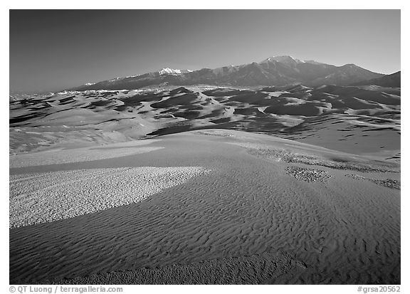 Sand dunes with snow patches and Sangre de Christo range. Great Sand Dunes National Park (black and white)