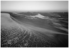 Sparse snow on the dunes at dawn. Great Sand Dunes National Park, Colorado, USA. (black and white)