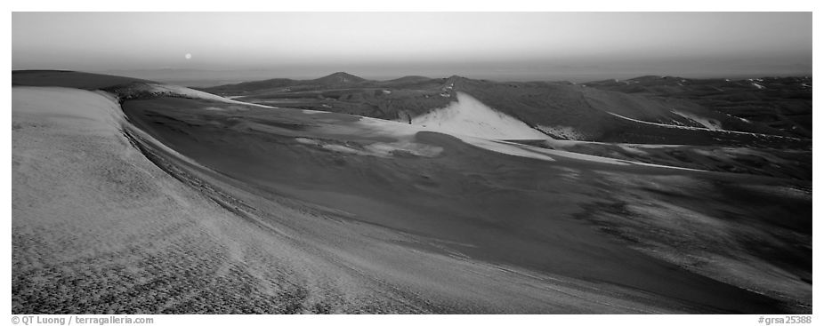 Dune field in winter at dawn. Great Sand Dunes National Park (black and white)
