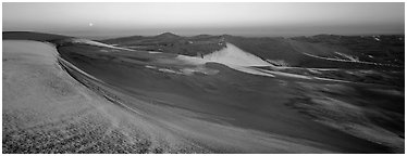 Dune field in winter at dawn. Great Sand Dunes National Park (Panoramic black and white)