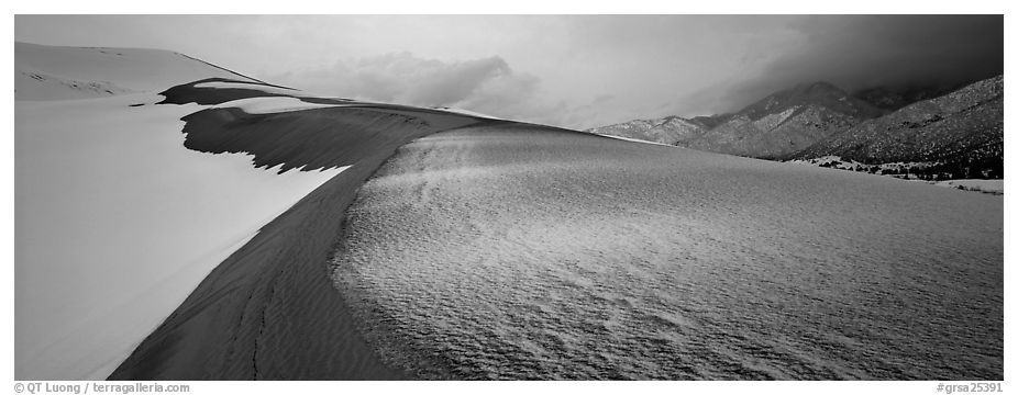 Sand dune scenery in winter. Great Sand Dunes National Park and Preserve (black and white)