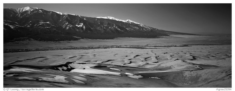 Dune field in winter. Great Sand Dunes National Park and Preserve (black and white)