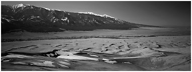 Dune field in winter. Great Sand Dunes National Park (Panoramic black and white)