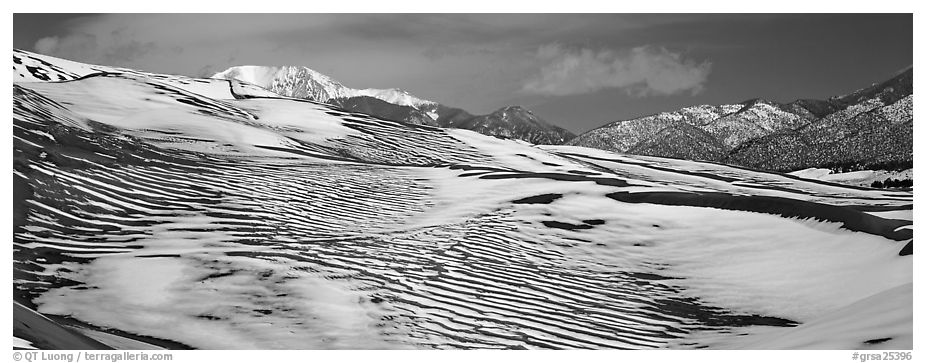 Melting snow on sand dunes. Great Sand Dunes National Park and Preserve (black and white)