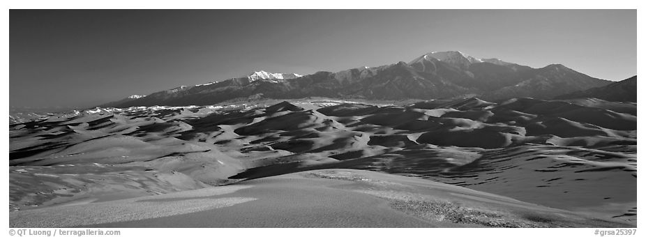 Sand dunes and Sangre de Christo mountains in winter. Great Sand Dunes National Park and Preserve (black and white)
